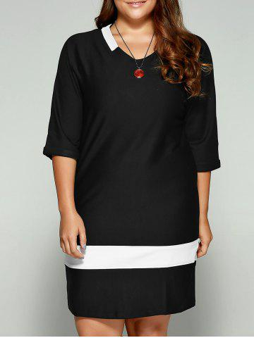 Shop Plus Size Two-Toned Hemming Sleeves Dress BLACK 5XL