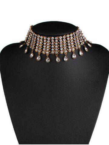 Chic Rhinestone Alloy Water Drop Layered Choker GOLDEN