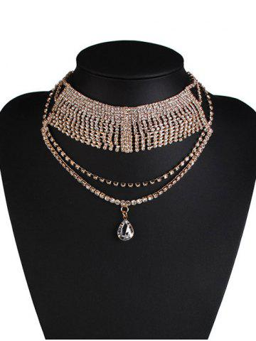 Outfits Rhinestone Water Drop Wedding Jewelry Necklace GOLDEN