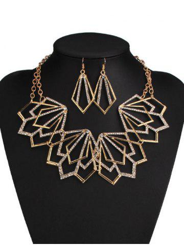 Best Rhinestone Alloy Geometric Necklace and Earrings GOLDEN