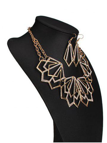 Cheap Rhinestone Alloy Geometric Necklace and Earrings - GOLDEN  Mobile