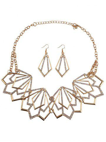 Sale Rhinestone Alloy Geometric Necklace and Earrings - GOLDEN  Mobile