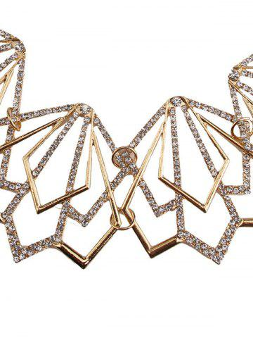 Affordable Rhinestone Alloy Geometric Necklace and Earrings - GOLDEN  Mobile