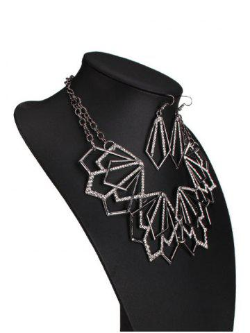 Sale Rhinestone Alloy Geometric Necklace and Earrings - BLACK  Mobile