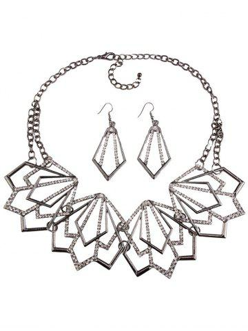Online Rhinestone Alloy Geometric Necklace and Earrings - BLACK  Mobile