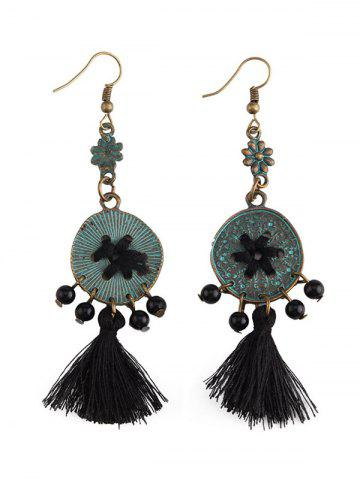 Fancy Coins Floral Key Beaded Jewelry Set - BLACK  Mobile