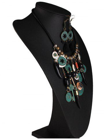 Online Coins Floral Key Beaded Jewelry Set - BLACK  Mobile