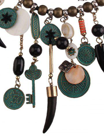 Fashion Coins Floral Key Beaded Jewelry Set - BLACK  Mobile