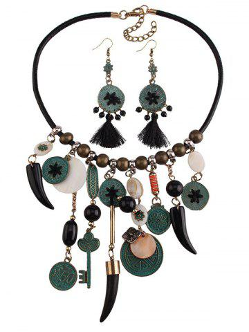 Discount Coins Floral Key Beaded Jewelry Set - BLACK  Mobile