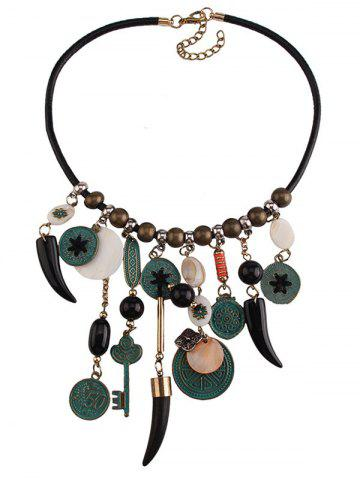 Affordable Coins Floral Key Beaded Jewelry Set - BLACK  Mobile