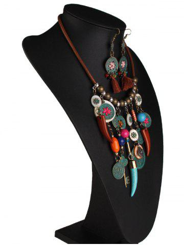 Discount Coins Floral Key Beaded Jewelry Set - COLORMIX  Mobile