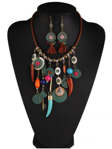 Online Coins Floral Key Beaded Jewelry Set - COLORMIX  Mobile