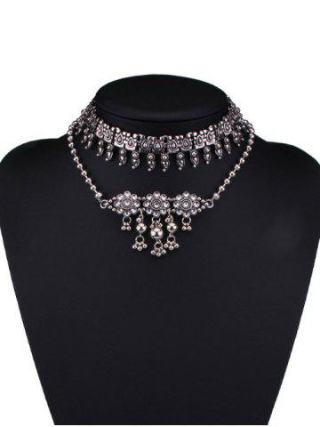 Chic Alloy Rhinestone Teardrop Floral Choker Necklaces
