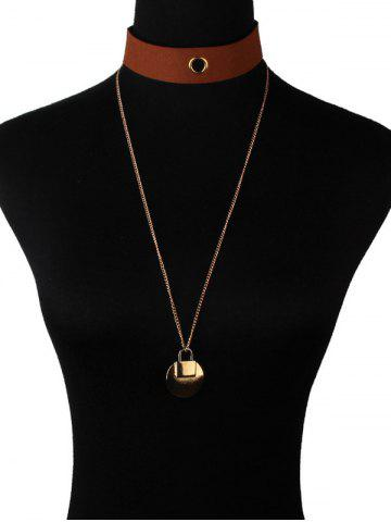Sale Faux Leather Lock Pendant Choker Necklace BROWN