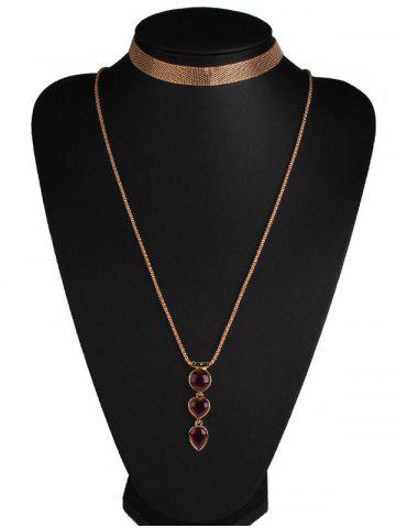 Outfit Faux Ruby Alloy Heart Jewelry Set