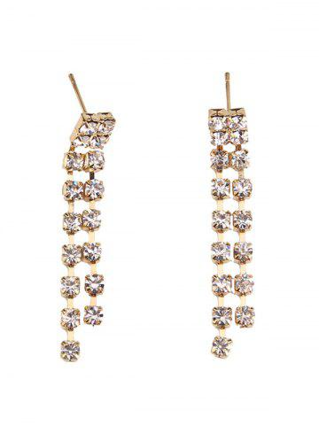 Fashion Rhinestoned Geometric Hollowed Wedding Jewelry Set - WHITE AND GOLDEN  Mobile
