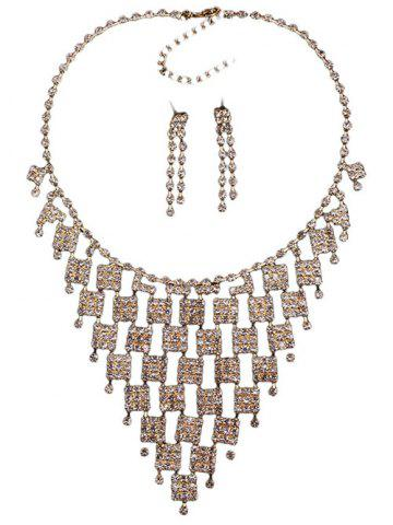 Buy Rhinestoned Geometric Hollowed Wedding Jewelry Set - WHITE AND GOLDEN  Mobile