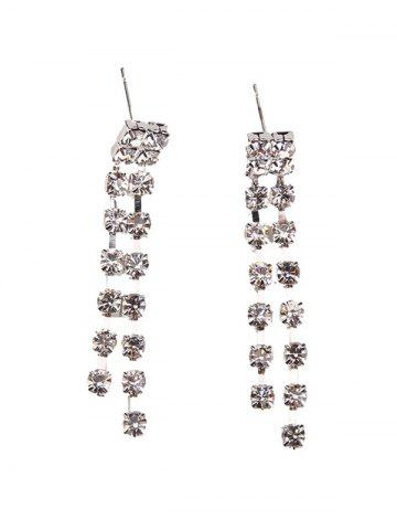 Shops Rhinestoned Geometric Hollowed Wedding Jewelry Set - SILVER AND WHITE  Mobile
