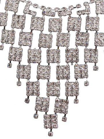 Affordable Rhinestoned Geometric Hollowed Wedding Jewelry Set - SILVER AND WHITE  Mobile