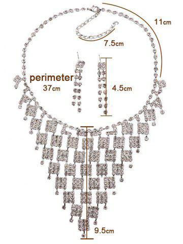Fancy Rhinestoned Geometric Hollowed Wedding Jewelry Set - SILVER AND WHITE  Mobile