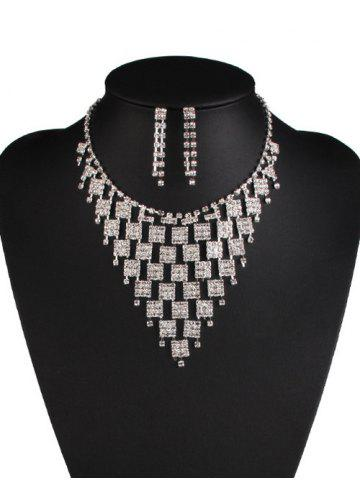 Store Rhinestoned Geometric Hollowed Wedding Jewelry Set SILVER AND WHITE