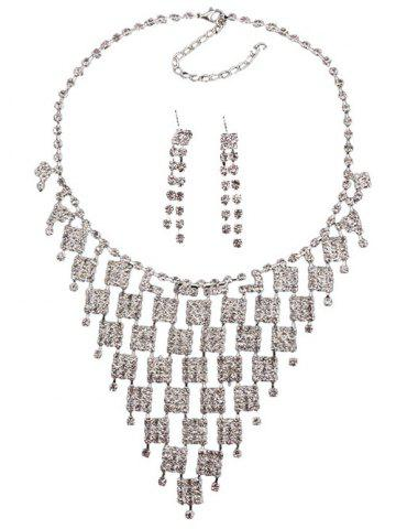 Unique Rhinestoned Geometric Hollowed Wedding Jewelry Set - SILVER AND WHITE  Mobile
