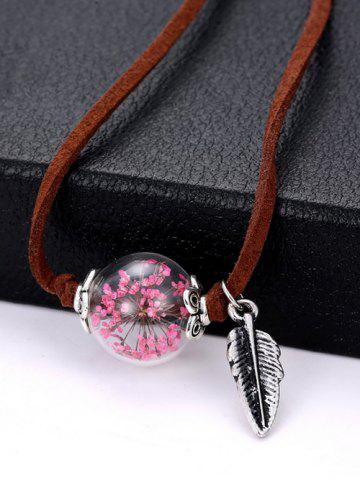 Store Faux Leather Dry Sakura Leaf Necklace PINK