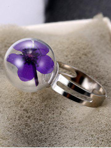Best Glass Ball Dry Flower Cuff Ring - ONE-SIZE PURPLE Mobile