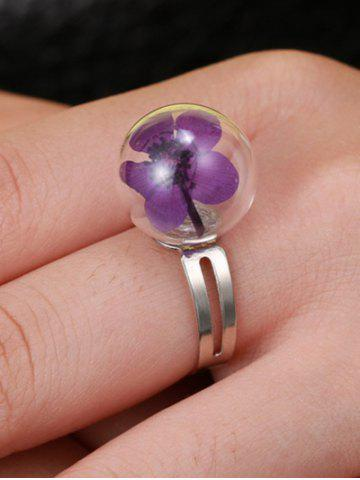 Hot Glass Ball Dry Flower Cuff Ring - ONE-SIZE PURPLE Mobile