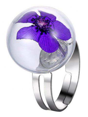 Buy Glass Ball Dry Flower Cuff Ring PURPLE ONE-SIZE