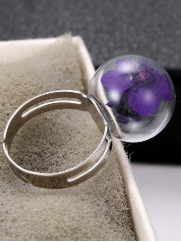 Outfit Glass Ball Dry Flower Cuff Ring - ONE-SIZE PURPLE Mobile