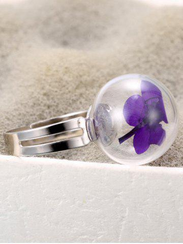 Cheap Glass Ball Dry Flower Cuff Ring - ONE-SIZE PURPLE Mobile