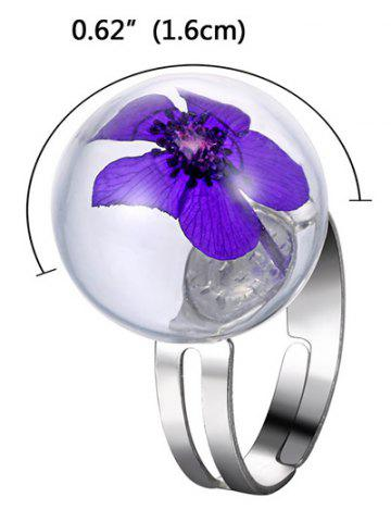 Online Glass Ball Dry Flower Cuff Ring - ONE-SIZE PURPLE Mobile