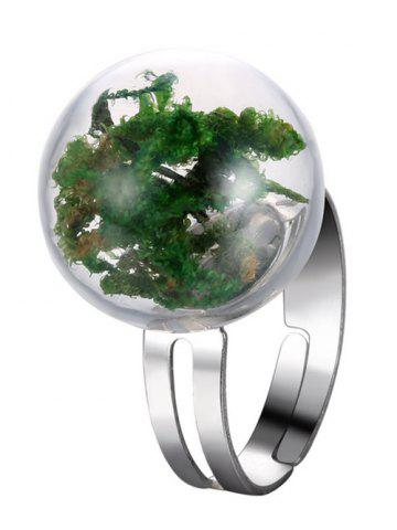 Glass Ball Dry Plant Cuff Ring - Green - One-size
