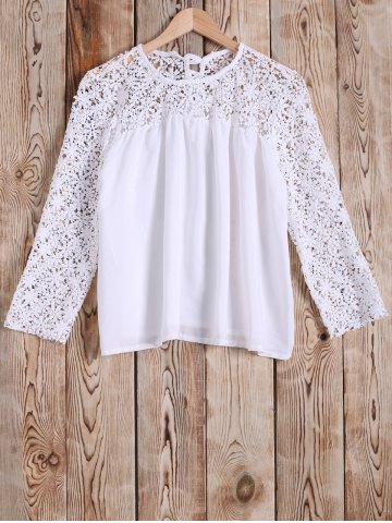 Online Crochet Lace Splicing Hollow Out Blouse