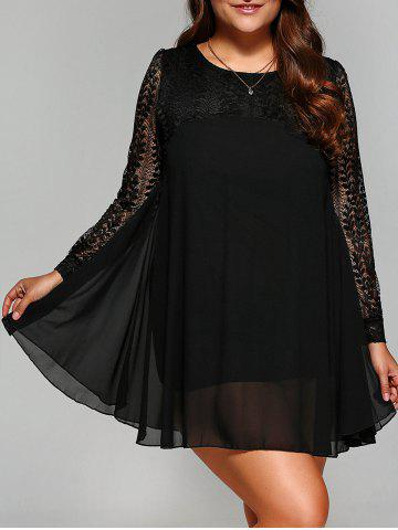 Cheap Plus Size Lace Splicing Chiffon Dress - 4XL BLACK Mobile