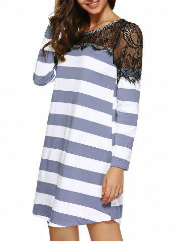 Discount Eyelash Lace Splicing Striped Dress