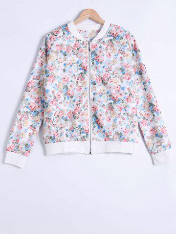 Best Floral Print Zipper Design Jacket WHITE 2XL