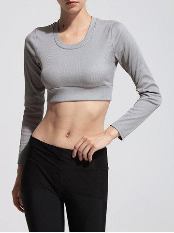 Discount Sporty Long Sleeve Cropped T-Shirt