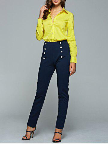 Latest Long Sleeve Shirt and High Waisted Pencil Pants Suit