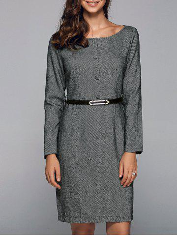 Shops Front Button Sheath Long Sleeve Dress GRAY 2XL