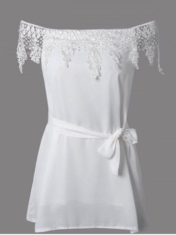 Best Off The Shoulder Lace Spliced Mini Dress