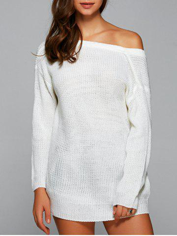 Drop Shoulder Backless Long Sweater - White - S