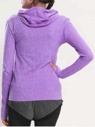 Sale Quick Dry Hooded Sporty Coat - PURPLE M Mobile