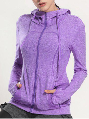 Shops Quick Dry Hooded Sporty Coat - PURPLE S Mobile
