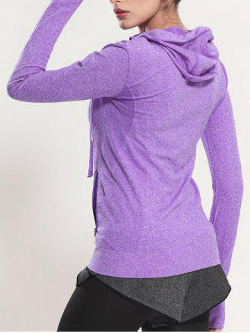 Sale Quick Dry Hooded Sporty Coat - PURPLE S Mobile