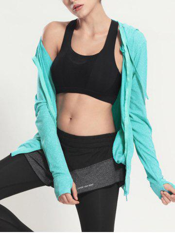 New Quick Dry Hooded Sporty Coat - MINT GREEN S Mobile
