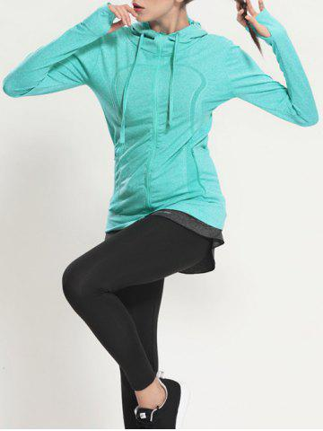 Outfits Quick Dry Hooded Sporty Coat - MINT GREEN S Mobile