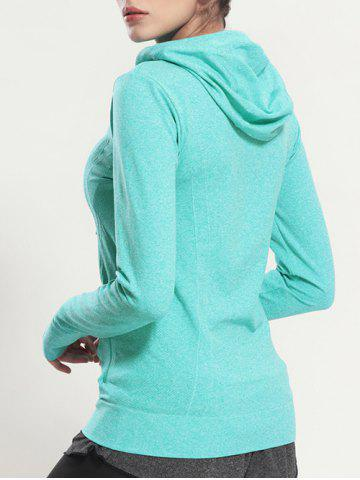 Best Quick Dry Hooded Sporty Coat - MINT GREEN S Mobile
