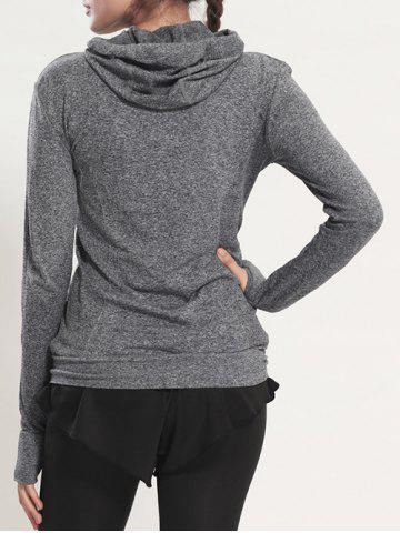 Sale Quick Dry Hooded Sporty Coat - GRAY M Mobile